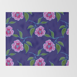 Peony Floral Floating Pattern Throw Blanket