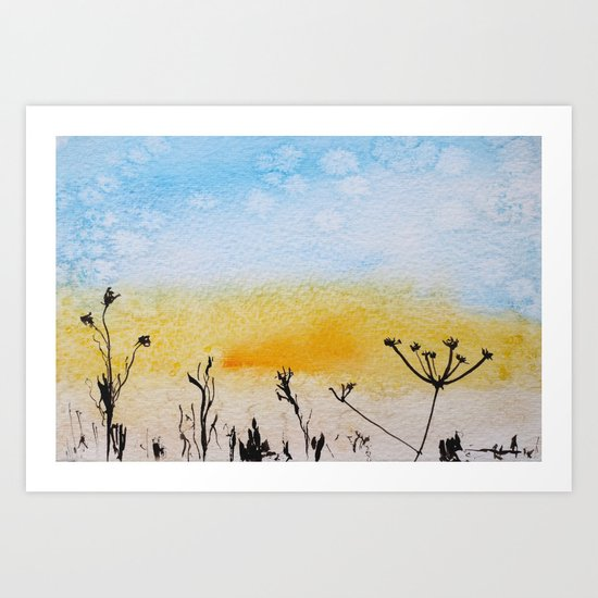Summer sunrise in watercolor Art Print