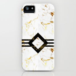 Abstract square golden marble pattern iPhone Case