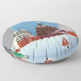 Rochester, New York - Skyline Illustration by Loose Petals Floor Pillow