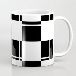 Black and white squares, crosses and lines Coffee Mug