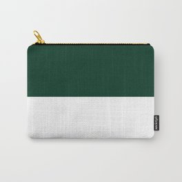 White and Deep Green Horizontal Halves Carry-All Pouch