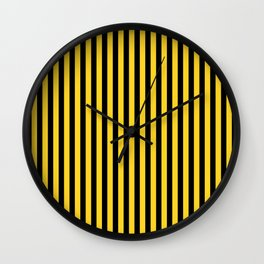 Yellow and Black Honey Bee Vertical Deck Chair Stripes Wall Clock