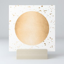 Sun Paint Spatter in Orange Sherbet Shimmer Mini Art Print