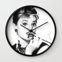Audrey Hepburn Pencil drawing Wall Clock