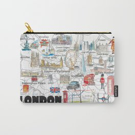 London UK Illustrated Travel Poster Favorite Map Tourist Highlights Carry-All Pouch