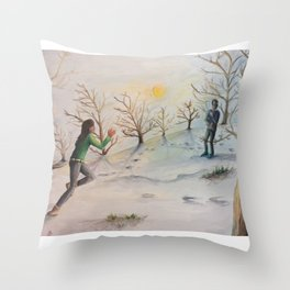 Love is a Snowball Fight Throw Pillow