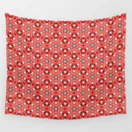 Vintage Poppy Red and Old Cream Drawn Flower Linear, with Black Seed Pods Floral Wall Tapestry