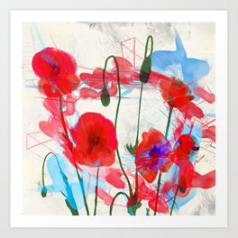Poppies Floral Jam Session. - 739. Art Print