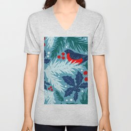 Christmas Tree With Bird and Holly Pattern Unisex V-Neck