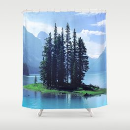 Canadian Scenic: Spirit Island Close-Up Shower Curtain