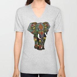 floral elephant teal Unisex V-Neck
