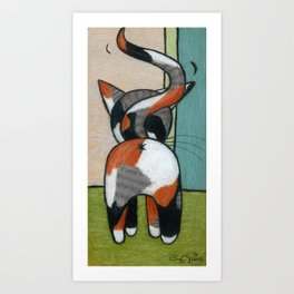 Calico Kitty Butt Art Print