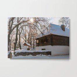 Winter tale in an old Romanian village Metal Print