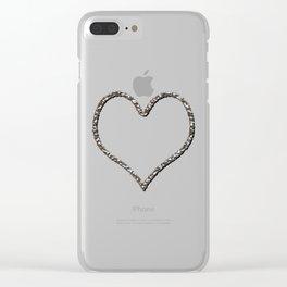 Liquid Metal Heart Shaped Frame Clear iPhone Case