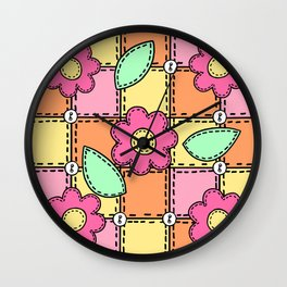 Retro Doodle Flower Style Quilt - Pink Yellow Orange Wall Clock