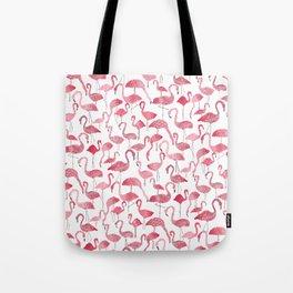 Tropical pink watercolor abstract floral flamingo Tote Bag