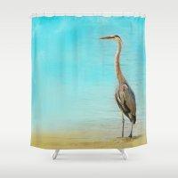 wildlife Shower Curtains featuring Wading - Blue Heron - Wildlife by Jai Johnson
