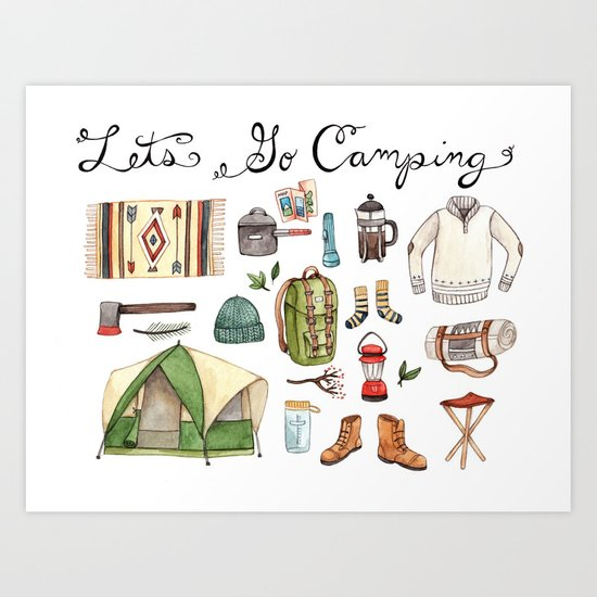 Let's Go Camping Art Print