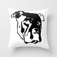 pitbull Throw Pillows featuring COACH - BLACK by Kirk Scott