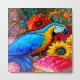 Blue Macaw, Fruit and Sunflowers Painting Metal Print