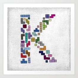 letter k - gaming blocks Art Print
