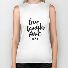 Live Laugh Love black and white wall hangings typography design home wall decor bedroom Biker Tank