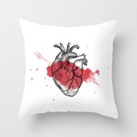 anatomical heart Throw Pillows featuring Anatomical heart - Art is Heart  by AdaLovesTheRain