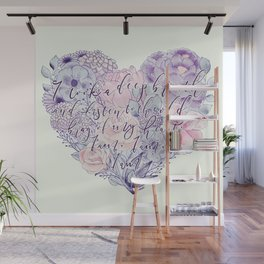 flower heart . sylvia plath quote . the bell jar Wall Mural