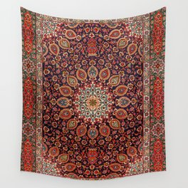 Persian Tabriz Old Century Authentic Multi-Color Black Radial Geometric Vintage Rug Pattern Wall Tapestry