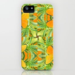 GOLDEN BUTTERIES ON GREEN ALOE CACTUS DESIGNS iPhone Case