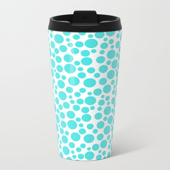 Turquoise polka dots on a white background . Metal Travel Mug