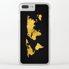 Metallic Gold Foil World Map On Black Clear iPhone Case