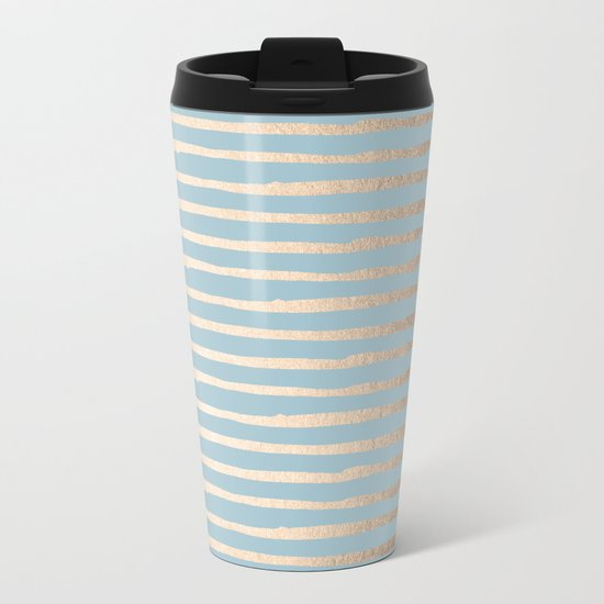 Abstract Stripes Gold Tropical Ocean Sea Blue Metal Travel Mug