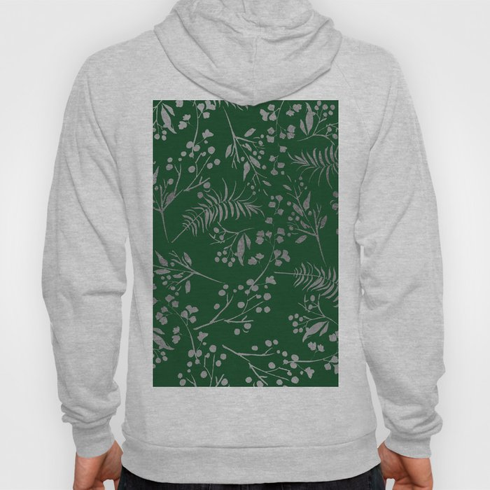 Forest green country chic faux silver floral leaves Hoody