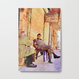 Two old men sitting in the street to Aleppo Metal Print