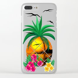 Pineapple Tropical Sunset, Palm Tree and Flowers Clear iPhone Case