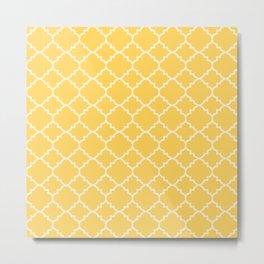 Sunshine Yellow Moroccan Quatrefoil Metal Print