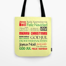 merry christmas in different languages I Tote Bag