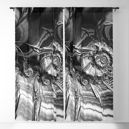 Silver Fractal Ammonite Spaceships Blackout Curtain