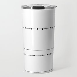 The Birds on the Line (Black and White) Travel Mug