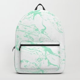 Trendy modern pastel mint green white marble pattern by Girly Trend Backpack