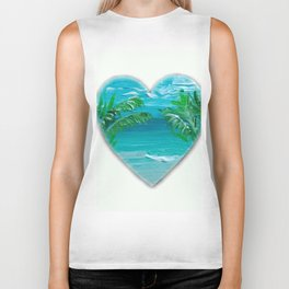 Florida, beach with palms~Ocean Love Biker Tank