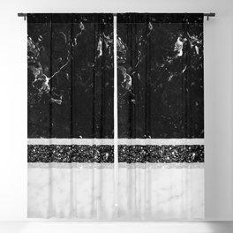 Black and White Marble Black Glitter Stripe Glam #1 #minimal #decor #art #society6 Blackout Curtain