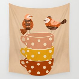 Birds and Teacups Wall Tapestry