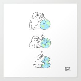 Mochi the pug celebrating Earth day Art Print