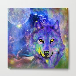 NEBULA WOLF OF MY DREAMS VIOLET BLUE Metal Print