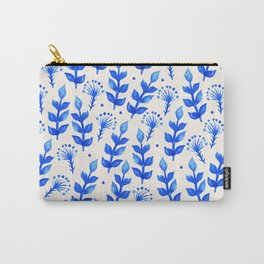 watercolor blue leaves Carry-All Pouch