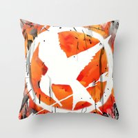 mockingjay Throw Pillows featuring The Mockingjay by Trinity Bennett