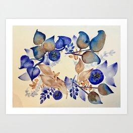 Blueberry Gold Leaf Wreath Art Print